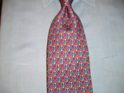 """Brooks Brothers """"Makers"""" Silk Tie Red White Blue Gold Design"""