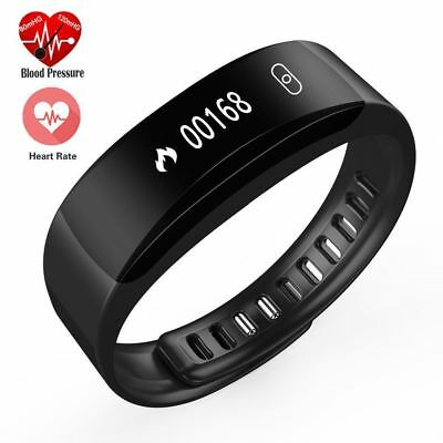 BLACK Blueooth Smart Bracelet Watch Blood Pressure Heart rate Sports Waterproof