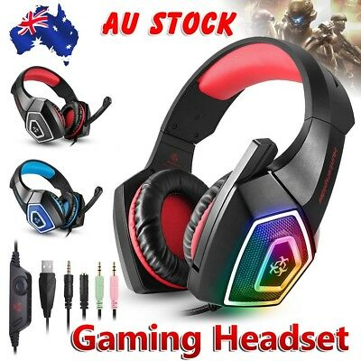 Gaming Headset MIC LED Headphones Surround for PC Mac Laptop Xbox One PS4 3.5mm