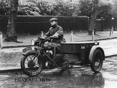 BSA motorcycle and sidecar Royal Mail vehicle England 1930s photo photograph