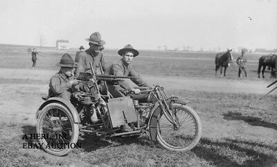 Indian 8-valve V-twin 61ci WW1 training military motorcycle early photograph
