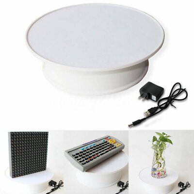 Round Top Electric Motorized Rotating Shop Jewelry Display Stand Turntable White