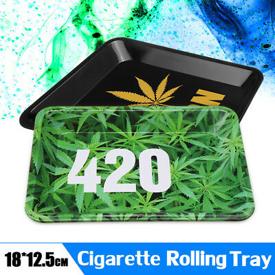 Portable Metal Tobacco Rolling Tray 18cm*12.5cm Cigarette Smoking Holder Trays