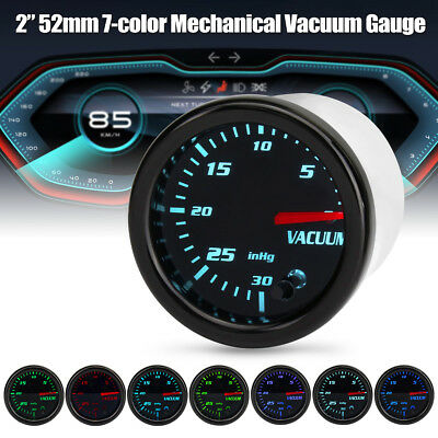 2'' 52mm Universal Car 7 Color LED Mechanical Turbo Boost Vacuum Gauge Meter 12V