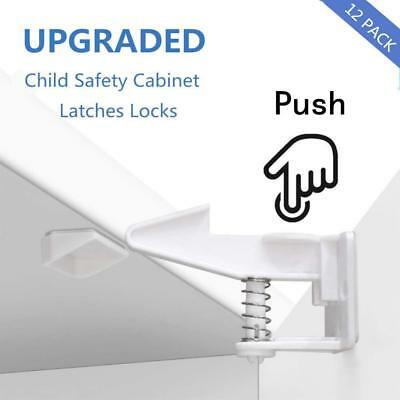 YNOUU 12 Pack Child Safety Cabinet Locks, Invisible and Unlocked Design,No...