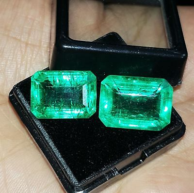 Beautiful Natural Green Emerald Loose Gemstone 9 to 7 cts 2 Pair GGL Certified