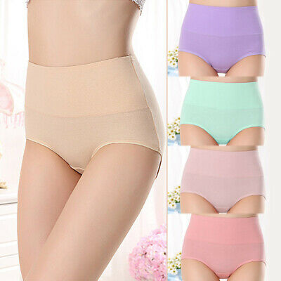 Women High Waist Soft Cotton Underwear Briefs Knickers Elastic Candy Color New