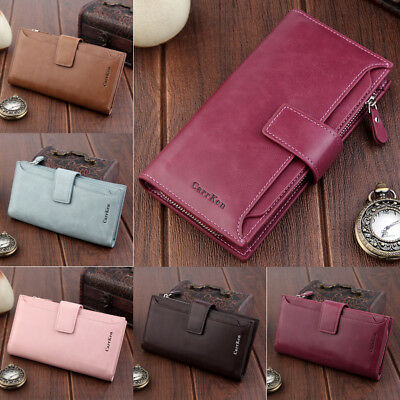 AU Women PU Leather Wallet Purse Long Card Holder Clutch Box Bag Phone Handbag