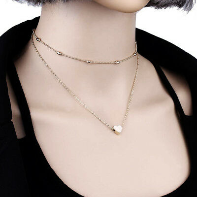 Necklace Double Layer Heart Chain Hot Multilayer Choker Gold Silver Pendant Gift