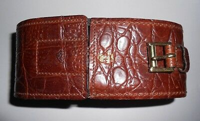 Genuine Mulberry Shoe Cleaning Case, Brown Croc Print.