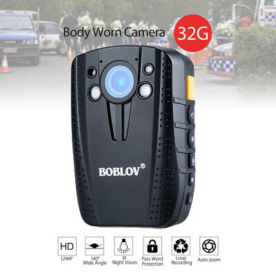 Police 1296P 32GB Video Recorder Body Worn Camera Infrared Night Vision Security