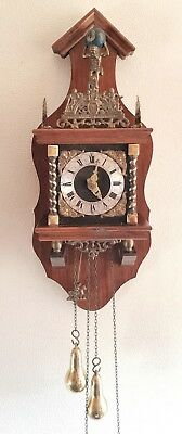 Zaanse Clock Dutch Vintage Bell Strike Chain Driven Pendulum Weights