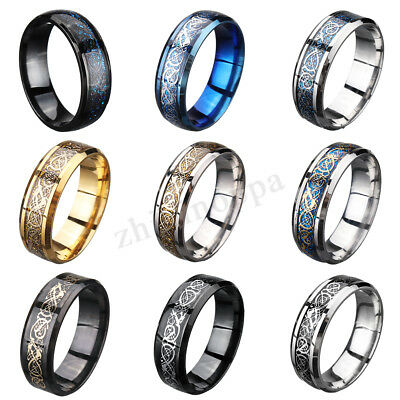 Fashion Men's Silver Celtic Dragon Ring Titanium Stainless Steel Wedding Band