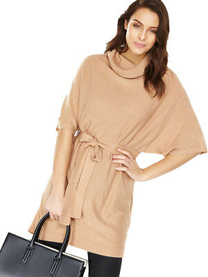 V by Very Cowl Neck Tie Waist Jumper in Camel Size 14