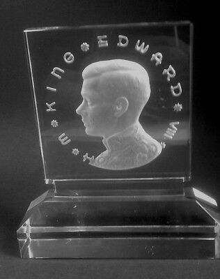 Rare King Edward VIII Crystal Glass Etched from back Plaque
