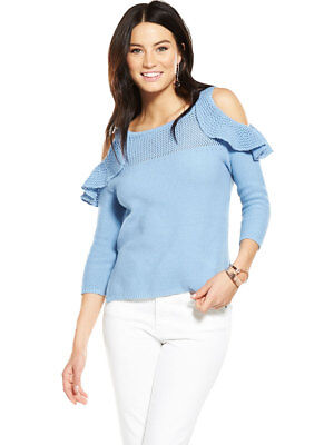 V By Very Pointelle Frill Cold Shoulder Jumper In Soft Blue Size 14