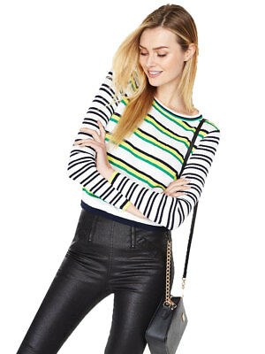 V By Very Crew Neck Contrast Striped Jumper in Multi Size 16