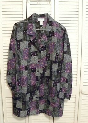 BRYLANE WOMAN LS Button Blouse Plus Sz 2X Purple Black Gray Floral Polyester