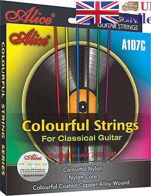 Alice A107C Normal Tension Strings Colourful Nylon Core For Classical Guitar