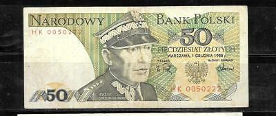 Poland #142C Vf  Circulated 1988 50 Zlotych Old Banknote Note Paper Money