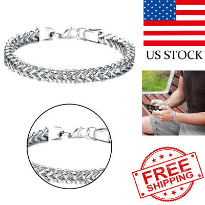 Heavy Stainless Steel Square Curb Wheat Chain Link Bracelet Men's Bangle
