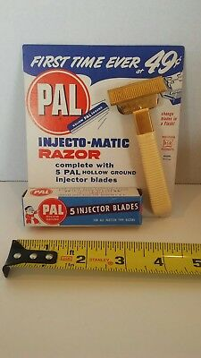 Rare Vintage Nos Pal Inject-Magic Razor And Blades On Card Mint Condition