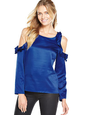 Ruffle Cold Shoulder Long Sleeved Blouse In Blue Size 12