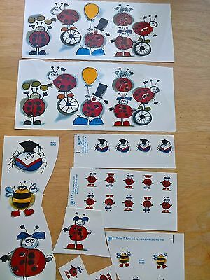Ceramic Waterslide Decals 32 x bee, spider, insect characters assorted sizes