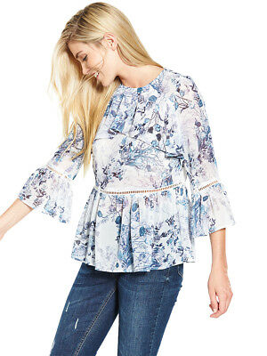 V by Very Blue Floral Frill Front Casual Blouse in Blue Floral Size 14
