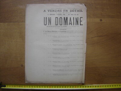 Ancienne Affiche 1900 Vente Mobiliere DOMAINE Cheneviere a Virey 71