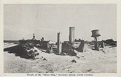 """1954 The Wreck of the """"Ghost Ship"""" at Ocracoke Island, NC North Carolina PC"""