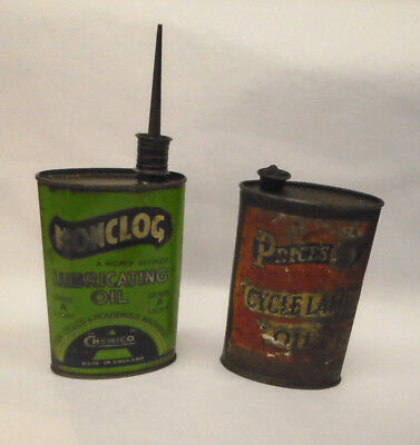 Antique / Vintage Bicycle / Cycle Nonclog & Prices lamp Oil Tins / Cans RARE