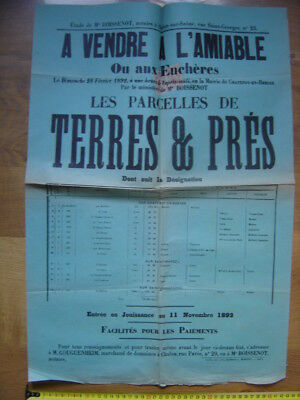 Ancienne Affiche 1892 Vente Mobiliere TERRES PRES a St Christophe Chatenoy 71