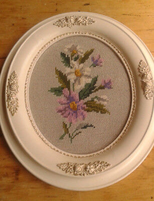Beautiful Framed Needlepoint Floral Vintage Frame White Gesso on Wood
