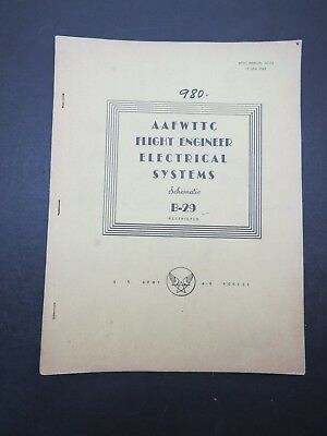 Original 1945 Boeing B-29 Flight Engineers Electrical Systems Schematic Manual