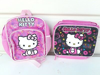 "New Sanrio Hello Kitty 12"" Backpack Insulated Lunch Bag Pink Black"