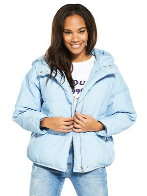 V by Very Long Oversized Puffer Jacket In Pale Blue Size 16