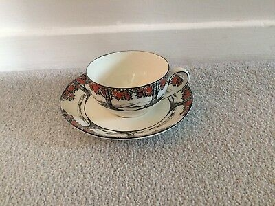 CROWN DUCAL ORANGE TREE CUP & SAUCER -  art deco - SUPERB - L@@@K