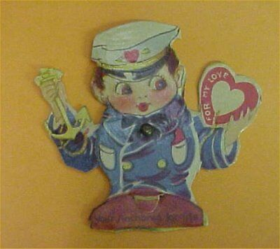 Vintage Valentines Day Card Mechanical Germany Sailor Anchor Tiny Germany DieCut