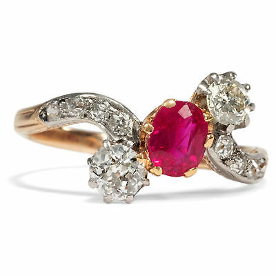 Um 1910: Antiker Ring aus 750er Gold & Platin mit Rubin & Diamanten, Diamant