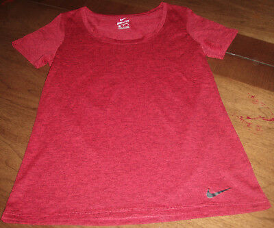 Nike womens S dri fit scoop neck athletic T SHIRT red