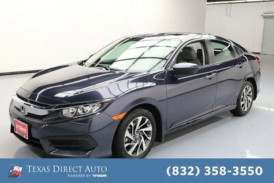 2018 Honda Civic EX Texas Direct Auto 2018 EX Used 2L I4 16V Automatic FWD Sedan Moonroof