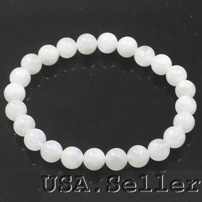 """104CT AA White Moonstone Round 8mm Beads Bracelet 7"""" D697 FREE SHIPPING"""