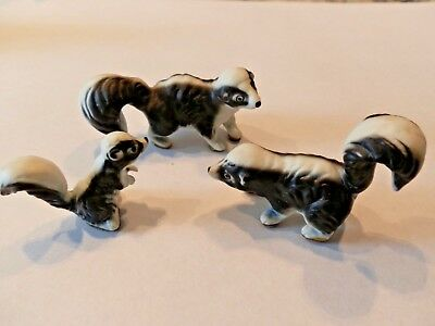 Bone China 3 Skunk Family Mini Figurines