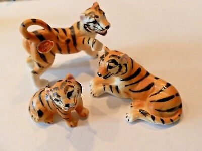 Bone China 3 Piece Tiger Family Figurines