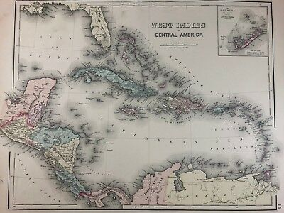 Caribbean Islands Central America OW Gray 1876 Large Antique Hand Colored Map