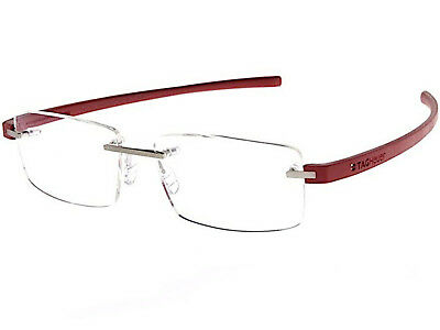 TAG Heuer Men's Glasses Spectacle Frame Silver / Cardinal Red TH3941 012