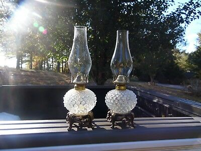 Antique Pair Of Unusual Hobbs ? French Opalescent Hobnail Oil Lamps On Bases