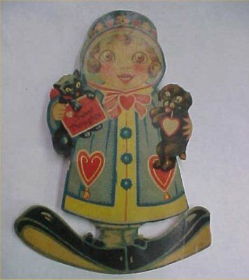 Vintage Valentines Day Card Standup Doll Kitty Cat Puppy Dog Germany Clown Feet