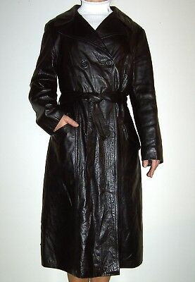 Vintage 70S Master Black Leather Slim Long Coat Trench Mac With Belt M/l